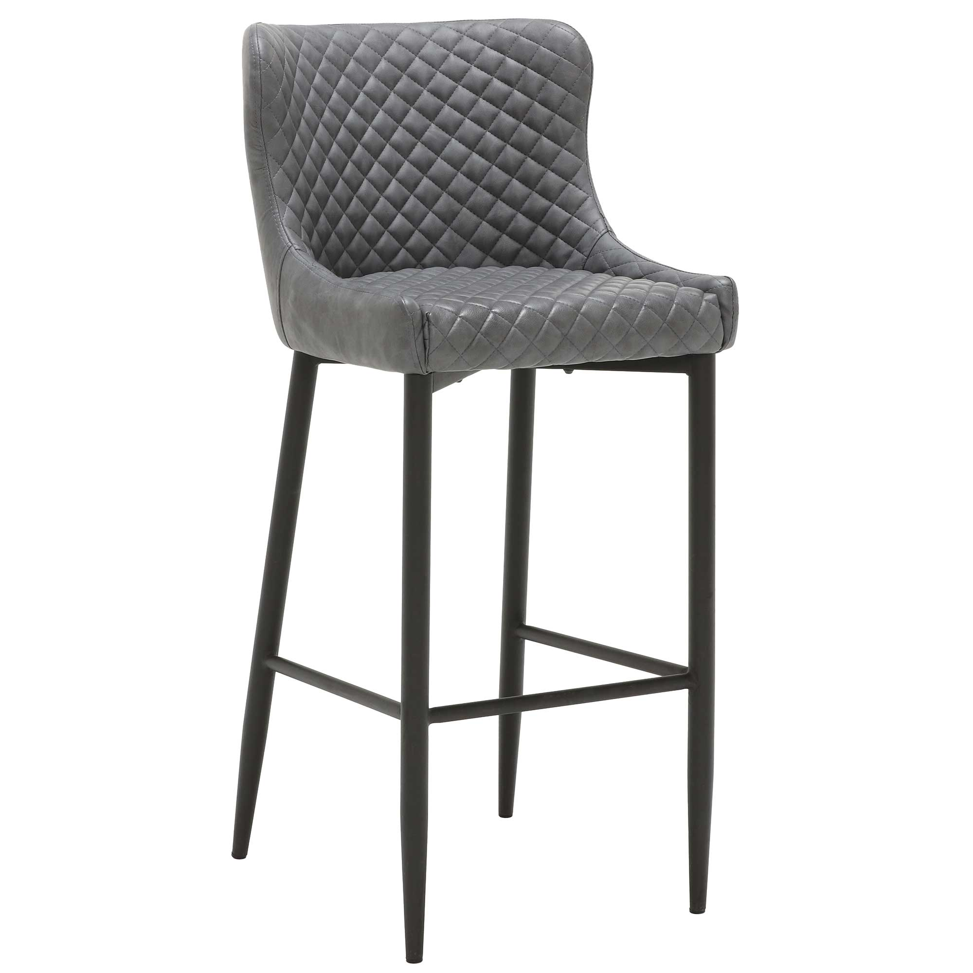 UPHOLSTERED BAR STOOL Gray Faux Leather