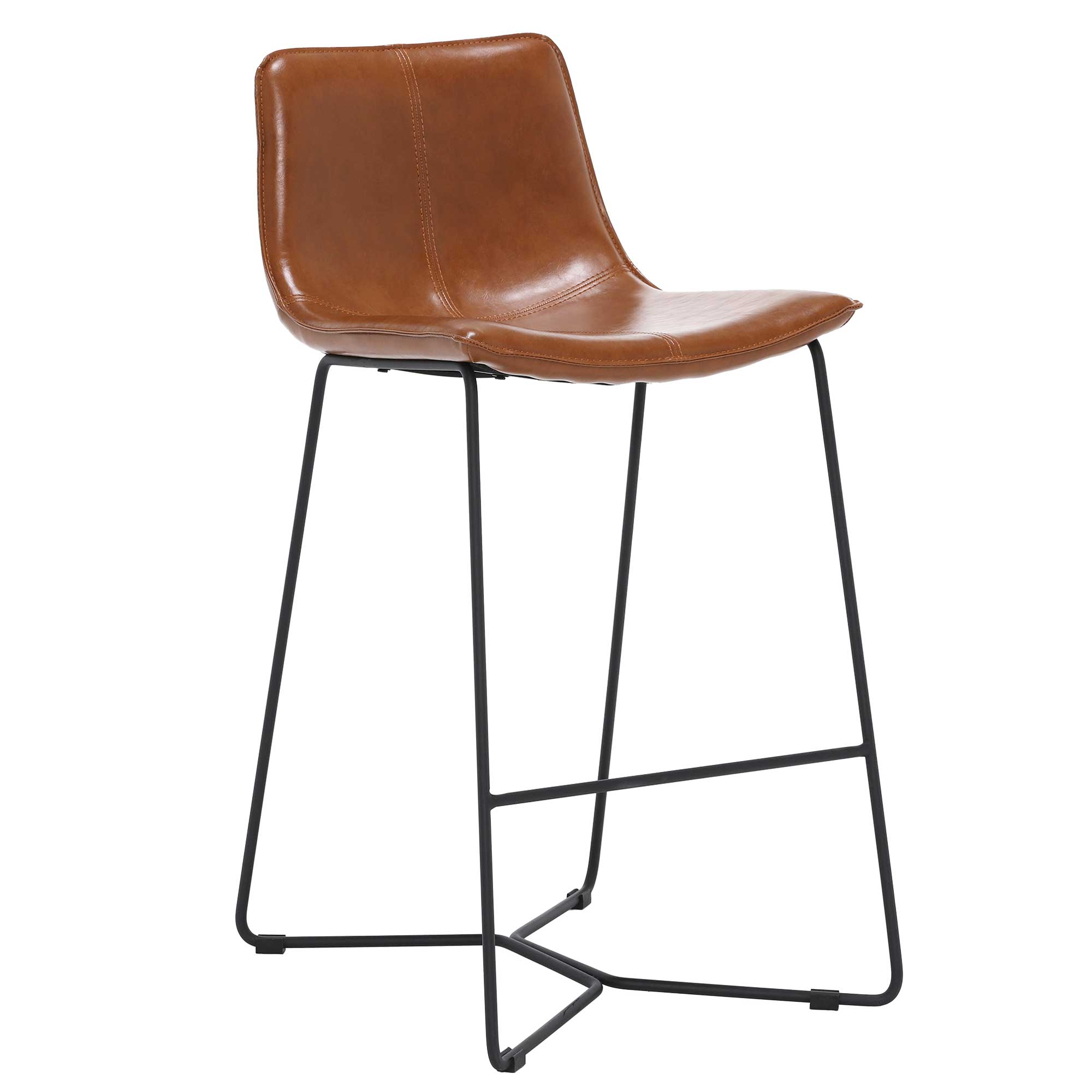 faux leather upholstery counter bar stool brown