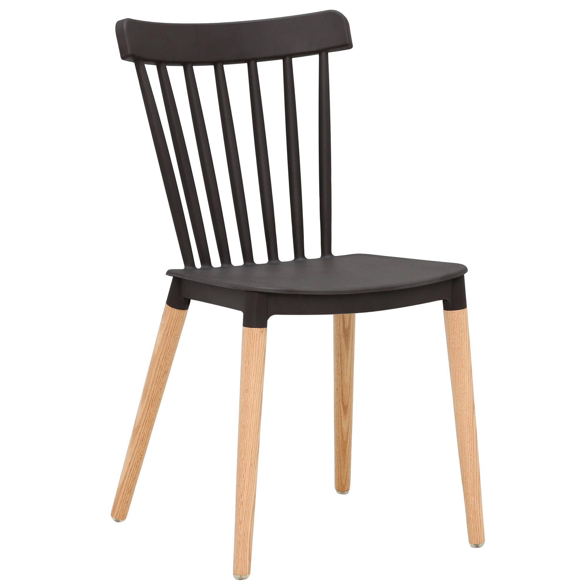 scandinavian design black pp plastic dining chair with solid wood legs