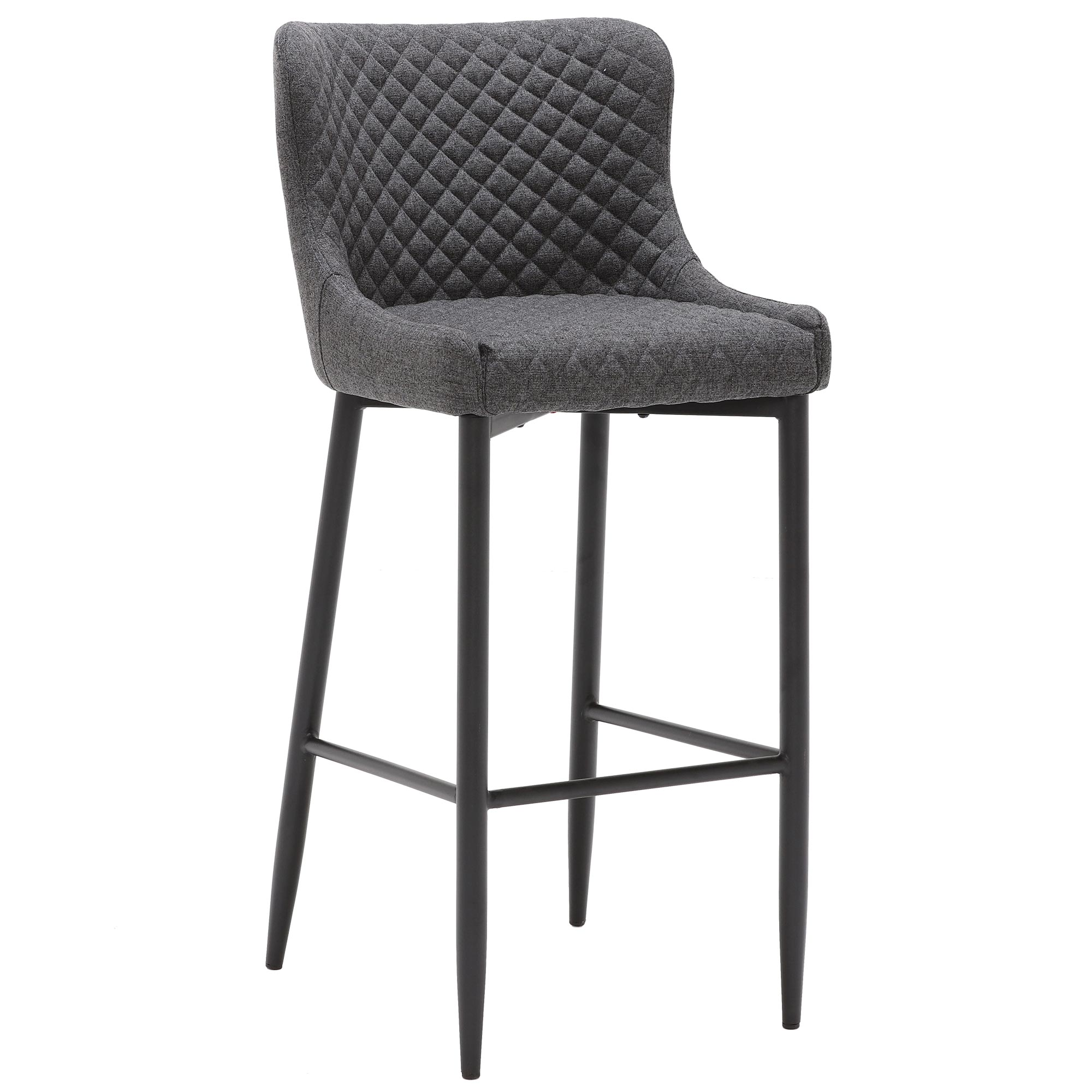 contemporary design dark gray fabric upholstered bar stool