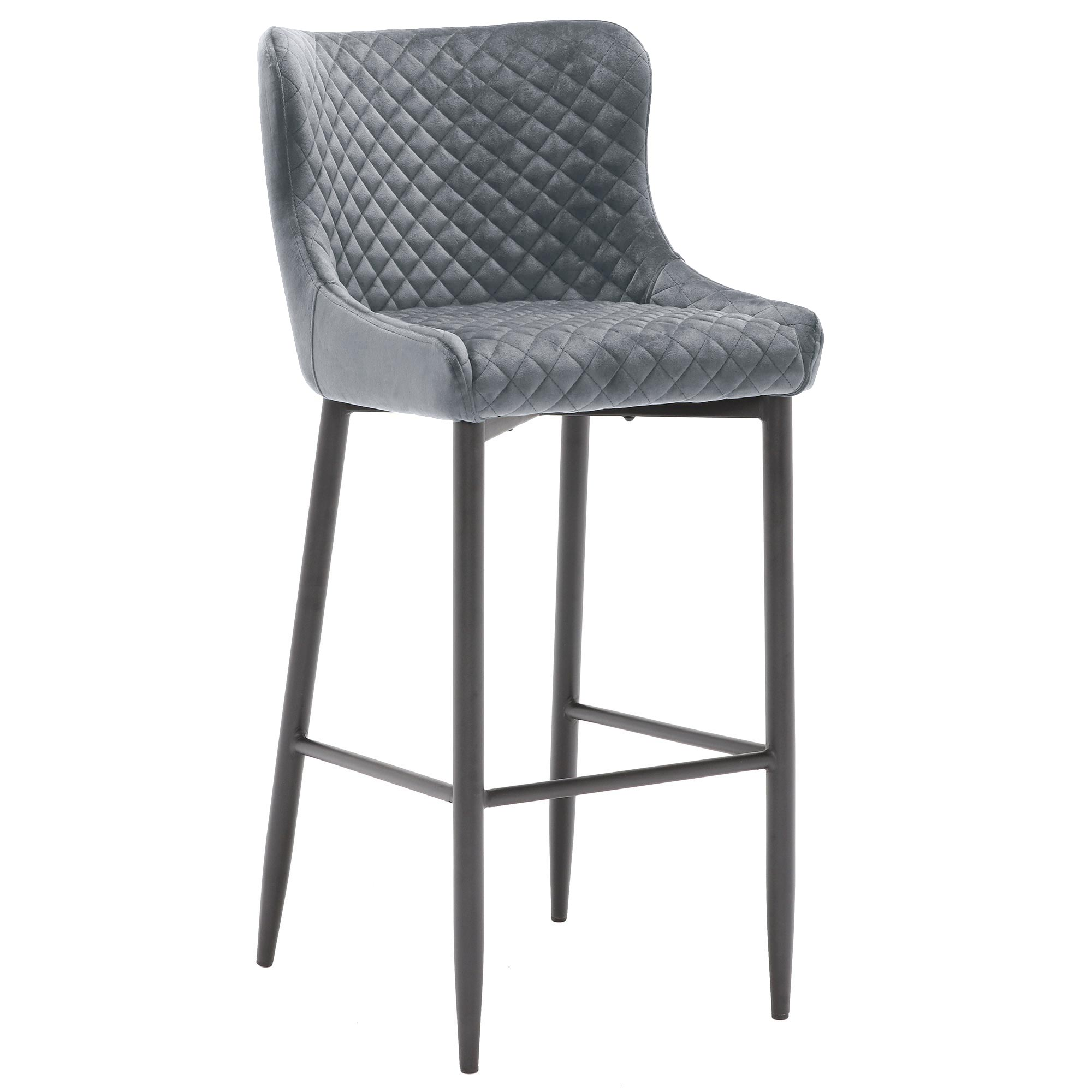 contemporary design gray fabric upholstered bar stool