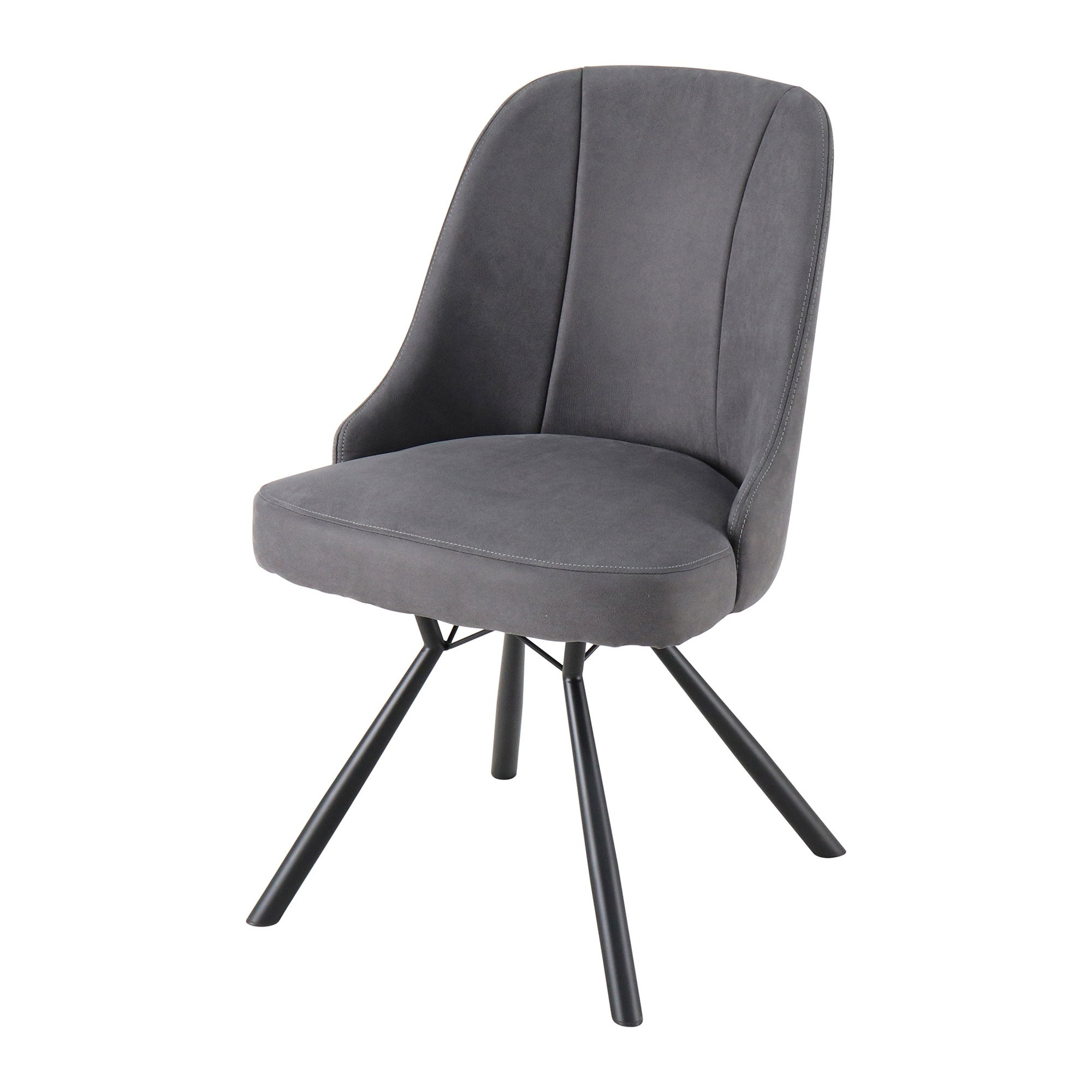 high back comfy gray fabric upholstered dining chair with metal legs