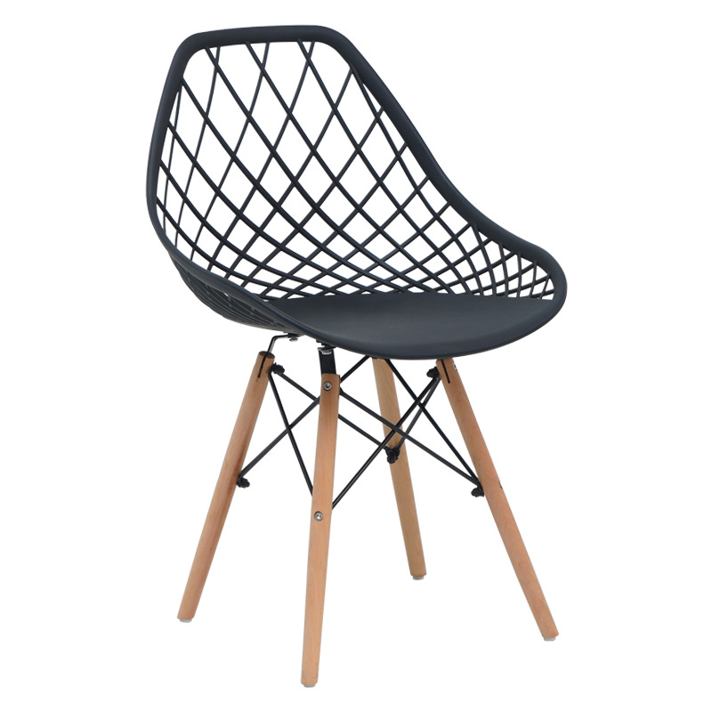 scandinavian design pp plastic chair hollow out seat wood legs
