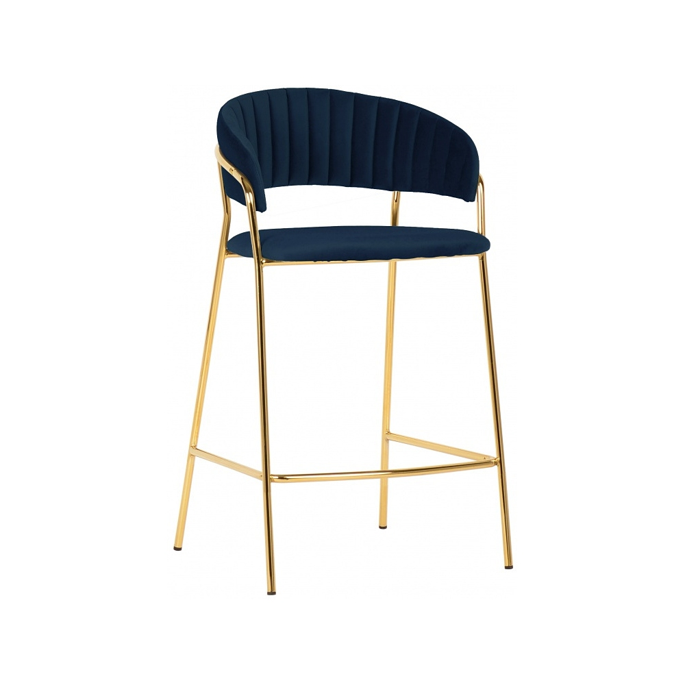 navy blue velvet bar stool high chair with backrest golden metal frame
