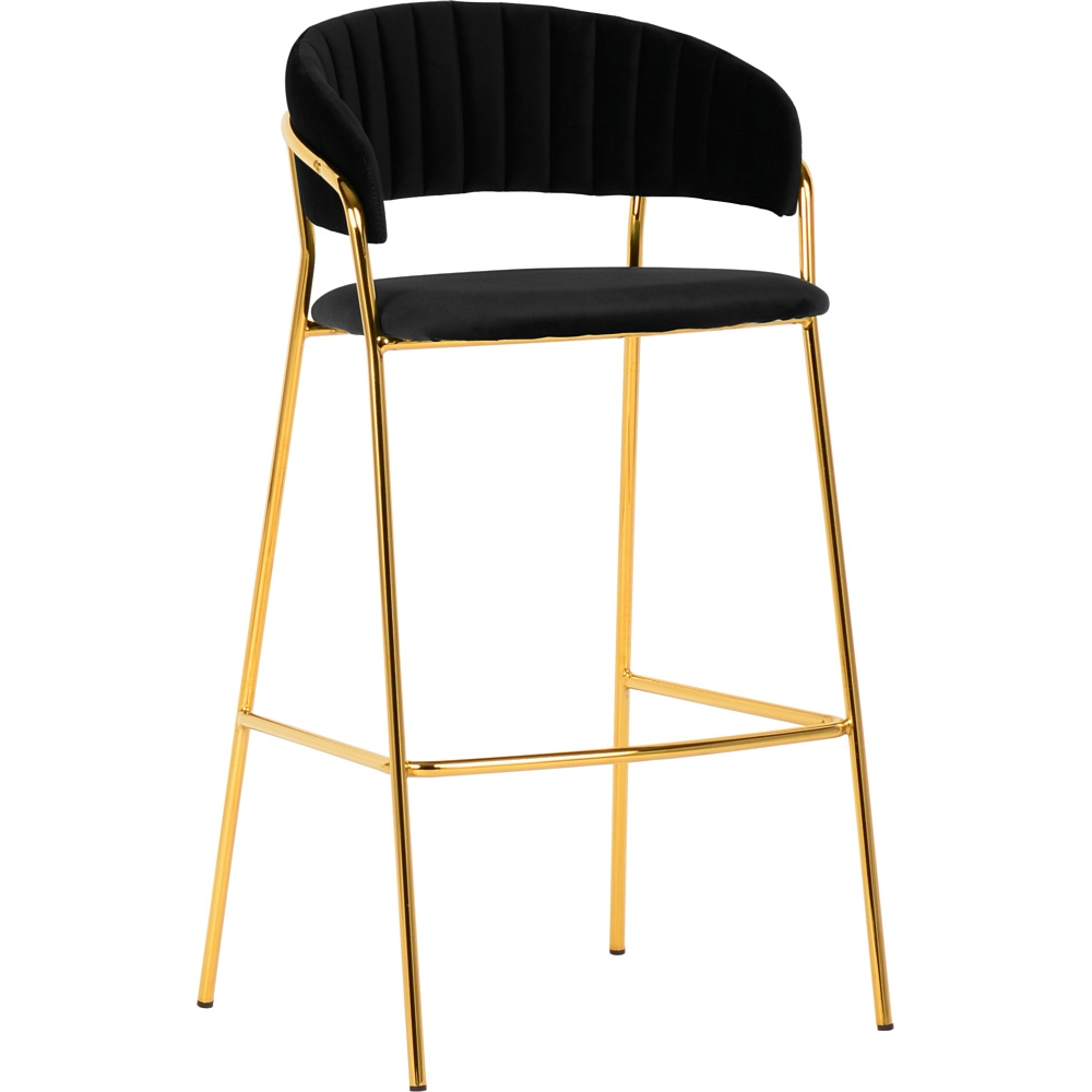 black velvet bar stool high chair with backrest golden metal frame