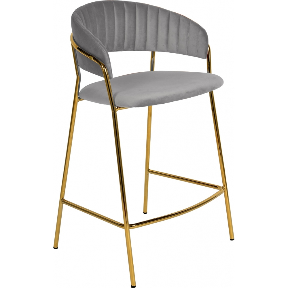 grey velvet bar stool high chair with backrest golden metal frame