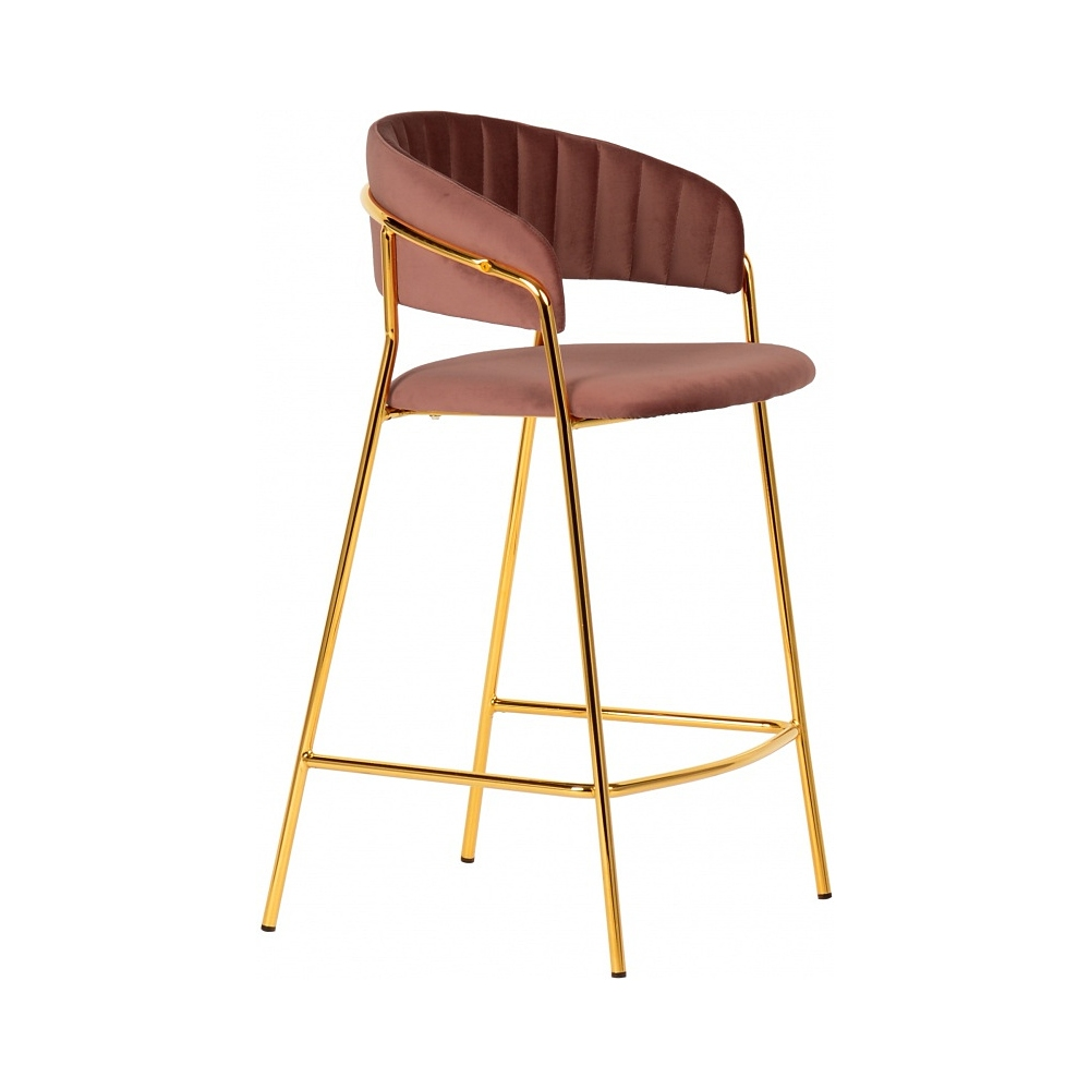 pruee pink velvet bar stool high chair with backrest golden metal frame