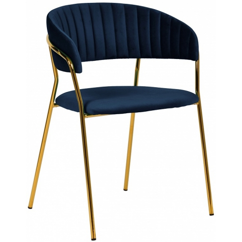 Navy blue velvet dining chairs with golden metal legs