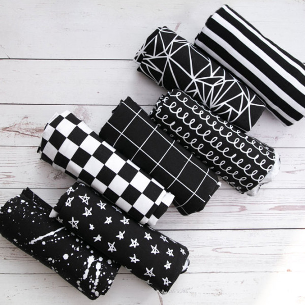 black and white digial print fabric