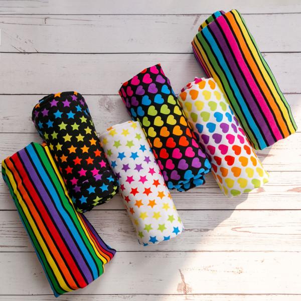 Retail-rainbow digital print-cotton lycra 230-240gsm
