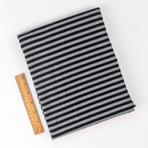 Heatherd grey and black stripe yarn dye fabric