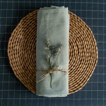 Dusty Teal - stonewashed Linen - 1/2 yard