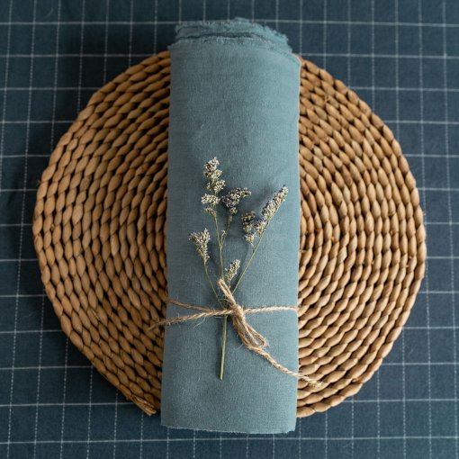 Dusty Blue - washed Linen - 1/2 Yard