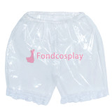 French Clear PVC Shorts Underpants lace sissy maid CD/TV Tailor-Made[G3855]