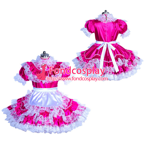French Sissy maid Satin lockable dress Uniform cosplay costume Tailor-made[G3928]