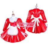 French Red Pvc Sissy Maid Lockable Dress Vinyl Uniform Tailor-Made[G1544]