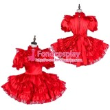 French Lockable Sissy Maid Satin Dress Uniform Cosplay Costume Tailor-Made[G1796]