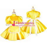 French Lockable Sissy Maid Yellow Satin Dress Uniform Cosplay Costume Tailor-Made[G1566]