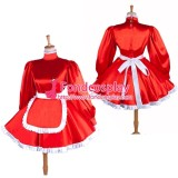 French Lockable Sissy Maid Red Satin Dress Uniform Cosplay Costume Tailor-Made[G1549]