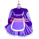 French Lockable Purple Sissy Maid Satin Dress Uniform Cosplay Costume Tailor-Made[G1552]