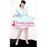 French Baby Blue Lockable Satin Sissy Maid Dress Uniform Tailor-Made[G1554]