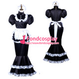 French Sissy Maid Satin Dress Lockable Uniform Cosplay Costume Tailor-Made[G3721]