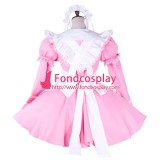 French Sissy Maid Cotton Pink Dress Lockable Uniform Cosplay Costume Tailor-Made[G1746]