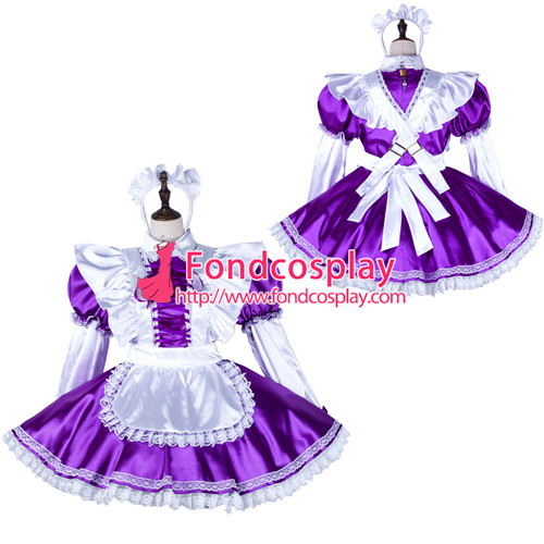 French Sissy Maid Satin Dress Lockable Uniform Cosplay Costume Tailor-Made[G2252]