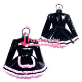 French Lockable heavy PVC sissy maid dress black Tailor-made[G3869]