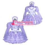 French lockable lilac satin-organza sissy maid dress unisex Tailor-made[G3883]