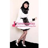 French White Pvc Lockable Sissy Maid Dress Vinyl Uniform Tailor-Made[G1553]