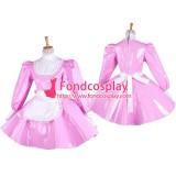 French Pink Pvc Sissy Maid Lockable Dress Vinyl Uniform Tailor-Made[G1545]