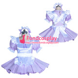 French lilac cotton  lockable sissy maid dress unisex Tailor-made[G3881]