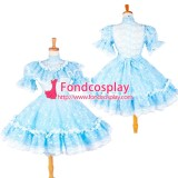 French Sissy Maid Blue Lace-Organza Lockable Dress Cosplay Costume Tailor-Made[G1391]