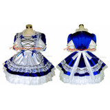 French Sexy Sissy Maid Satin Blue Dress Lockable Uniform Cosplay Costume Tailor-Made[G286]