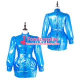 French Sissy Maid Pvc Dress Lockable Uniform Cosplay Costume Tailor-Made[G2229]