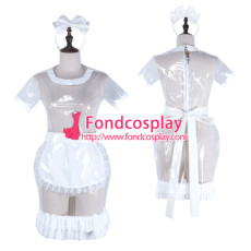 French Sissy Maid Clear Pvc Dress Lockable Uniform Cosplay Costume Tailor-Made[G2323]