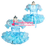 French lockable blue Satin-glass silk Sissy Maid  dress Tailor-made [G3866]