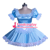 French blueSatin Sissy Maid Dress Unisex CD/TV Tailor-Made [G3930]