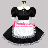 French Sissy Maid Dress Lockable Satin French Maid Uniform Dress Cosplay Costume Custom-Made[G027]