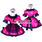 French Lockable Sissy Maid Satin Dress Uniform Cosplay Costume Tailor-Made[G1766]