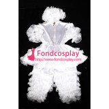 French Adult Sissy Baby Satin Romper Suit Lockable Uniform Costume[G2400]
