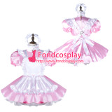 French Sissy Maid Satin Dress Lockable Uniform Cosplay Costume Tailor-Made[G2280]