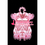French Adult Sissy Baby Maid Satin Romper Lockable Suit Tailor-Made[G2404]