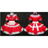 French Sexy Sissy Maid Satin Red Dress Lockable Uniform Cosplay Costume Tailor-Made[G296]