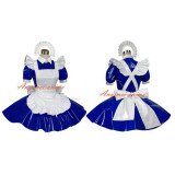 French Sexy Sissy Maid Pvc Dress Blue Lockable Uniform Cosplay Costume Tailor-Made[G312]