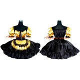 French Sexy Sissy Maid Satin Golden Balck Dress Lockable Uniform Cosplay Costume Tailor-Made[G276]