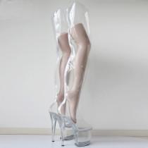 French Pleaser Seduce Crossdresser Clear Sissy Maid Thigh High Boots 20CM