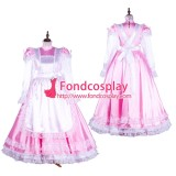 French Lockable Sissy Maid Satin Pink Dress Uniform Cosplay Costume Tailor-Made[G1749]