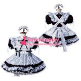 French Sissy Maid Satin Dress Lockable Uniform Cosplay Costume Tailor-Made[G2204]